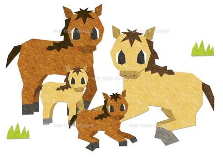 お馬の親子の素材 [FYI00214448]