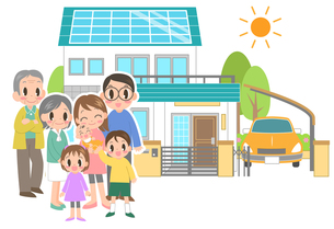 家族とマイホームの写真素材 [FYI00214458]