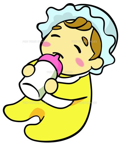哺乳瓶をくわえた赤ちゃんの素材 [FYI00214482]