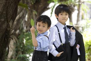 入学式後の兄弟の写真素材 [FYI00214576]