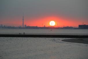 夕焼けと海とスカイツリーの写真素材 [FYI00215708]