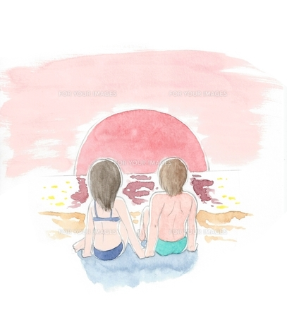海辺に座る水着のカップルの写真素材 [FYI00216129]