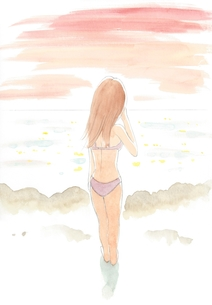 海辺にたたずむ女性の写真素材 [FYI00216132]