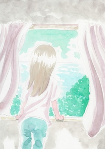 海が見える窓の写真素材 [FYI00216142]