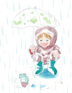 傘をさす女の子とカエルの写真素材 [FYI00216143]