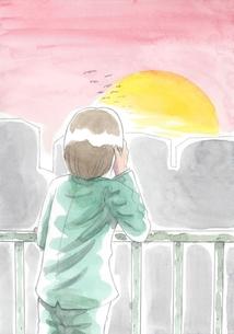 夕日を見つめるサラリーマンの写真素材 [FYI00216147]