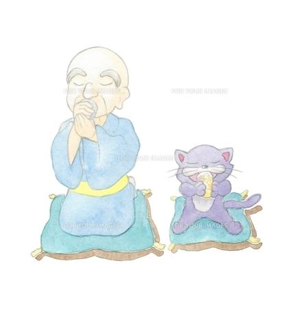 くつろぐおじいさんと猫の素材 [FYI00216159]