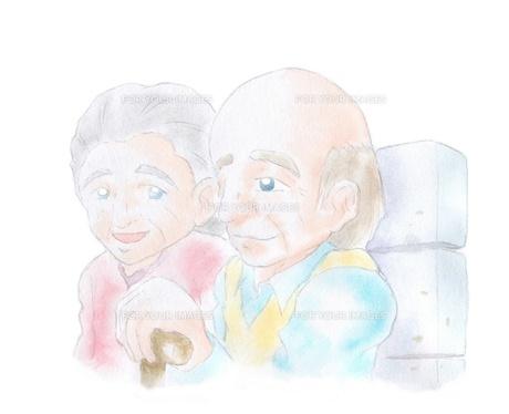ベンチに座る老夫婦の素材 [FYI00216172]