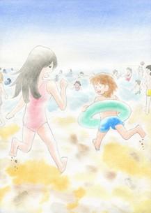 海に駆け出す二人の写真素材 [FYI00216173]