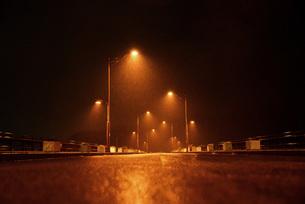 雨の日の夜を照らす街灯の写真素材 [FYI00216210]