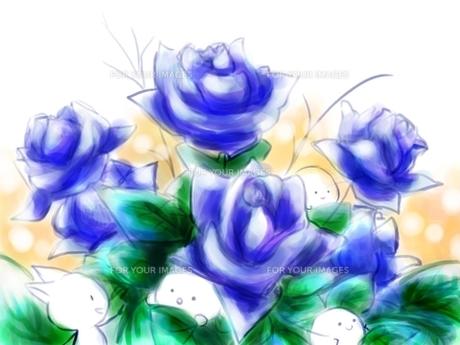 青いバラとかくれんぼの写真素材 [FYI00217407]