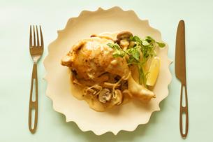 鶏肉ときのこのフリカッセの写真素材 [FYI00218099]