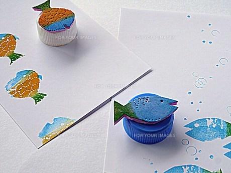 魚2匹のスタンプの写真素材 [FYI00218175]