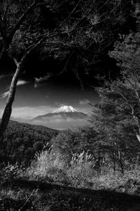 富士山:Mt.Fuji:残雪:モノクロの写真素材 [FYI00220440]