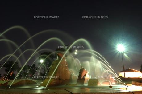 神戸ポートアイランド北公園イルカの噴水ライトアップの写真素材 [FYI00222460]
