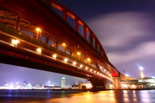 神戸大橋の夜景の写真素材 [FYI00222463]