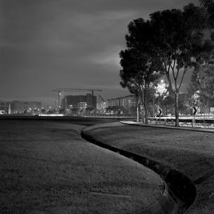 シンガポール郊外の夜 遠くに建設中のコンドミニアムの写真素材 [FYI00222504]