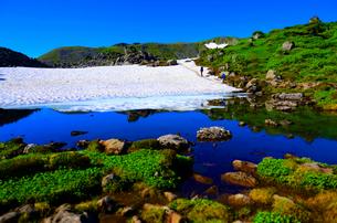 雪渓と真っ青な池の写真素材 [FYI00223883]