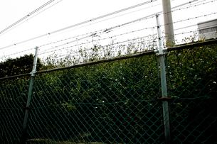 線路沿いのフェンスの写真素材 [FYI00224023]