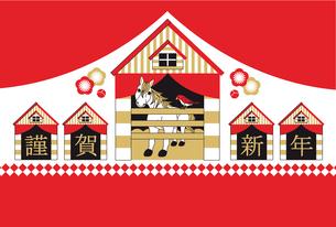 2014年午年完成年賀状テンプレート(馬小屋)謹賀新年の写真素材 [FYI00224454]