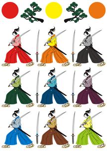 和風挿絵カットイラスト(侍と刀と松と日の丸)9色パターンの写真素材 [FYI00224471]
