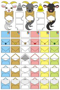 山羊さん郵便「ヤギ・洋封筒・手紙・ベル」アイコンイラスト素材集の写真素材 [FYI00224472]