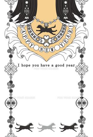 2014年午年完成年賀状テンプレート(シルバーアクセサリー)HAPPYNEWYEAR!の写真素材 [FYI00224474]