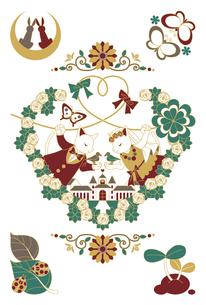 猫と鳥のカップル結婚式イラスト4色の写真素材 [FYI00224475]