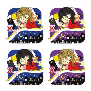 夜眠る少女と黒羊枕夜景布団アイコン4パターンの写真素材 [FYI00224476]