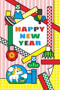 2014年午年完成年賀状テンプレート(ファンシーテープ)HAPPYNEWYEARの写真素材 [FYI00224478]