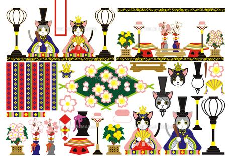 【3月】「3月3日雛祭り和風猫のお雛様雛人形」イラスト素材集の写真素材 [FYI00224482]