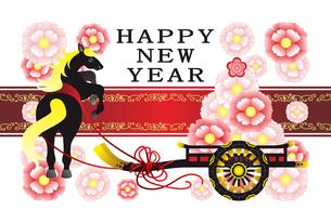 2014年午年完成年賀状テンプレート(おしゃれ花車と黒馬)HAPPYNEWYEARの写真素材 [FYI00224483]