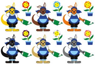 お花に水をやるカンガルーのキャラクター6色パターンの写真素材 [FYI00224484]
