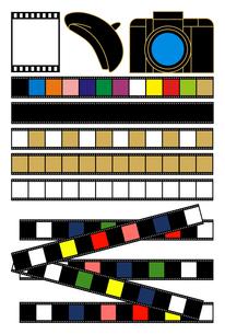 「カメラとネガフィルムとベレー帽」イラスト素材集の写真素材 [FYI00224485]