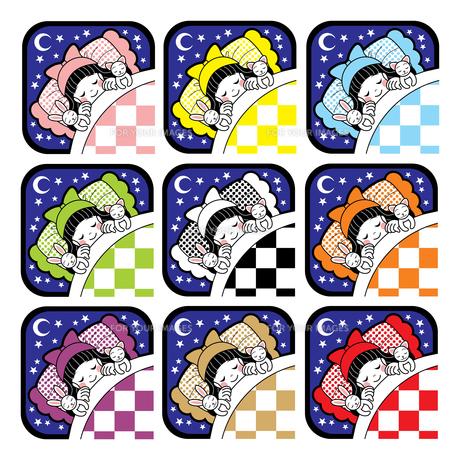 夜布団で眠る女の子とウサギと猫アイコン9色セットの写真素材 [FYI00224487]