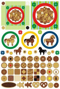 お菓子「かわいいクッキーとお皿」アイコンワンポイントイラスト素材集の写真素材 [FYI00224488]