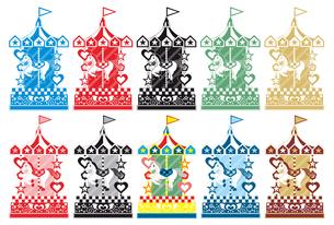 2014年午年年賀状用イラスト素材(回転木馬メリーゴーランド)カラフル10点セットの写真素材 [FYI00224489]
