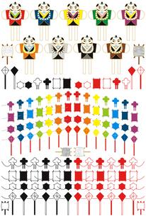 お正月凧揚げ「虹色7色連凧・和凧・六角凧・菱凧・奴凧」和風アイコンイラスト素材集の写真素材 [FYI00224492]