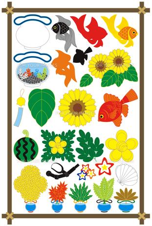 夏用「金魚・金魚鉢・ひまわり・スイカ」イラスト素材集の写真素材 [FYI00224494]