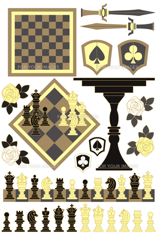 「チェスピースチェスボードチェスセット」イラスト素材集の写真素材 [FYI00224496]