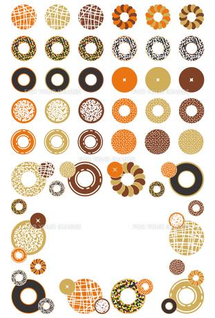 お菓子「ドーナッツ」アイコン飾り枠イラスト素材集の写真素材 [FYI00224498]