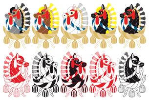 2014年午年年賀状用イラスト素材(飾り馬と注連縄)デジタル10点セットの写真素材 [FYI00224501]