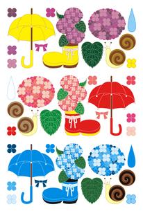 梅雨雨季「紫陽花と傘と蝸牛」イラスト素材集の写真素材 [FYI00224502]