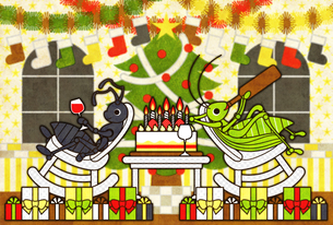 アリとキリギリスのクリスマスホリデーの写真素材 [FYI00224503]