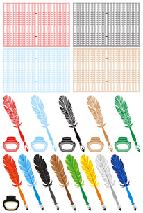 「原稿用紙とペンとインク」イラスト素材集の素材 [FYI00224507]