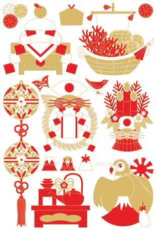 年賀状用イラストカット素材集(鏡餅・宝船・鞠・注連飾り・門松・お屠蘇・一富士二鷹三茄子)赤茶の写真素材 [FYI00224508]