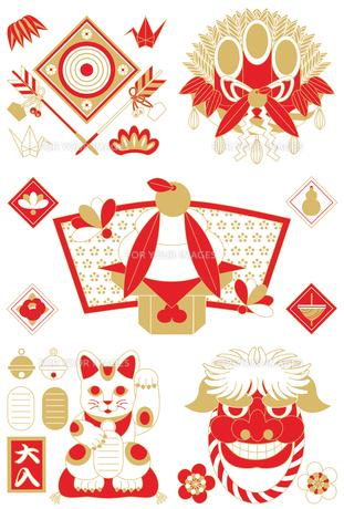 年賀状用イラストカット素材集(破魔矢・門松・鏡餅・招き猫・獅子)赤茶の写真素材 [FYI00224509]