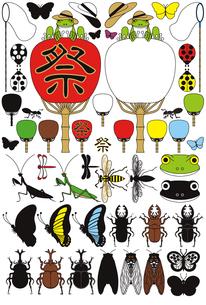 蛙と団扇と昆虫「蝶・蝉・甲虫・鍬形虫・蜂・螳螂・蜻蛉・蟻・天道虫」夏のイラスト素材集の写真素材 [FYI00224510]
