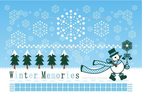 ポストカードサイズイラスト「冬の雪達磨雪の魔法」Winter Memoriesの写真素材 [FYI00224519]