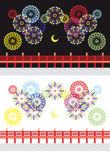 【夏】打ち上げ花火と橋と月イラストカットデザインイメージ素材(黒背景白背景セット)の写真素材 [FYI00224520]